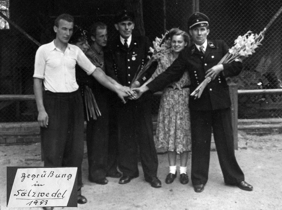 Delegation Tag des Bergmanns; Willi Schneemann in Salzwedel, 1953
