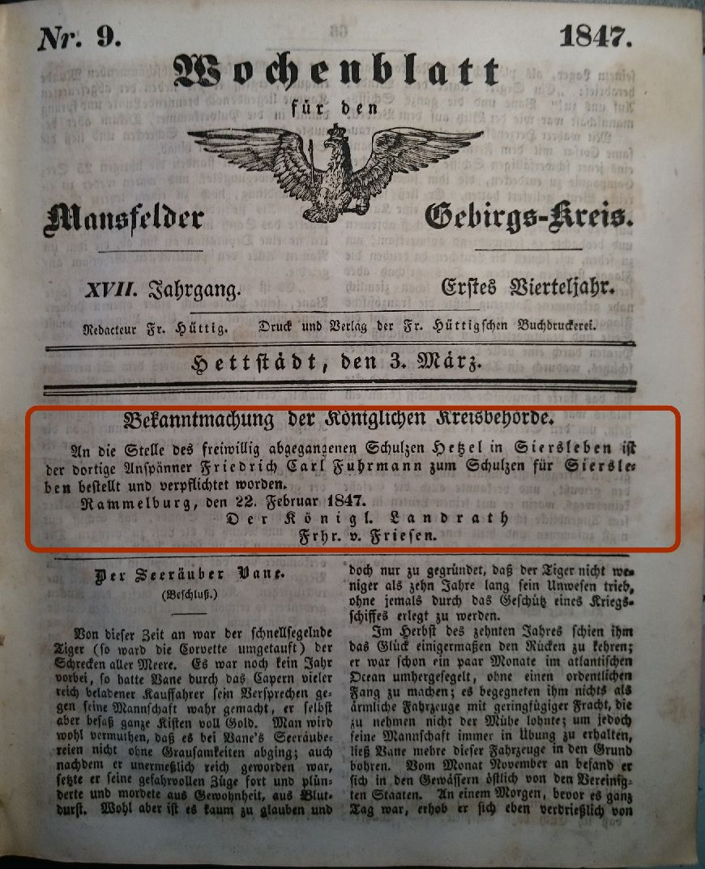 Mansfelder Wochenblatt 3.März 1847