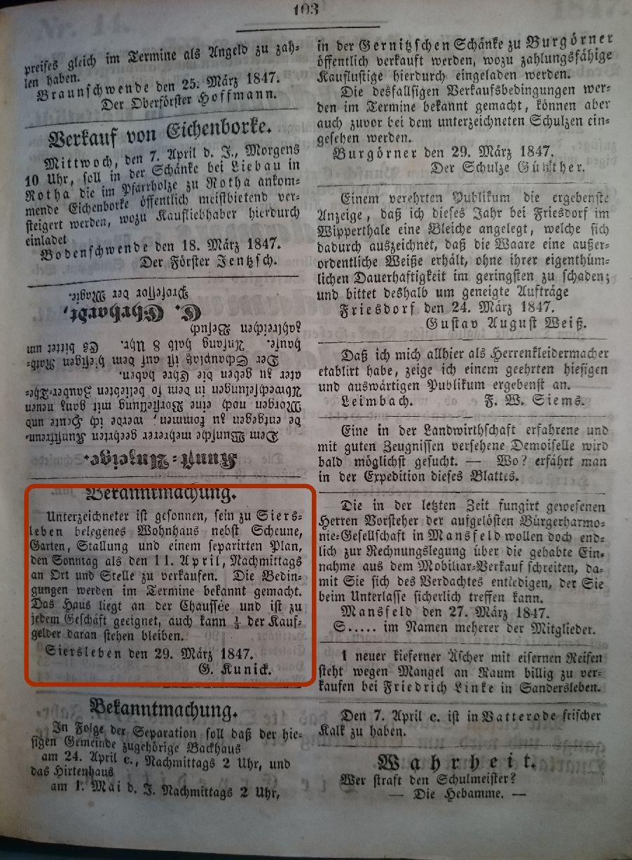 Mansfelder Wochenblatt 1847 Inserat wohnhaus