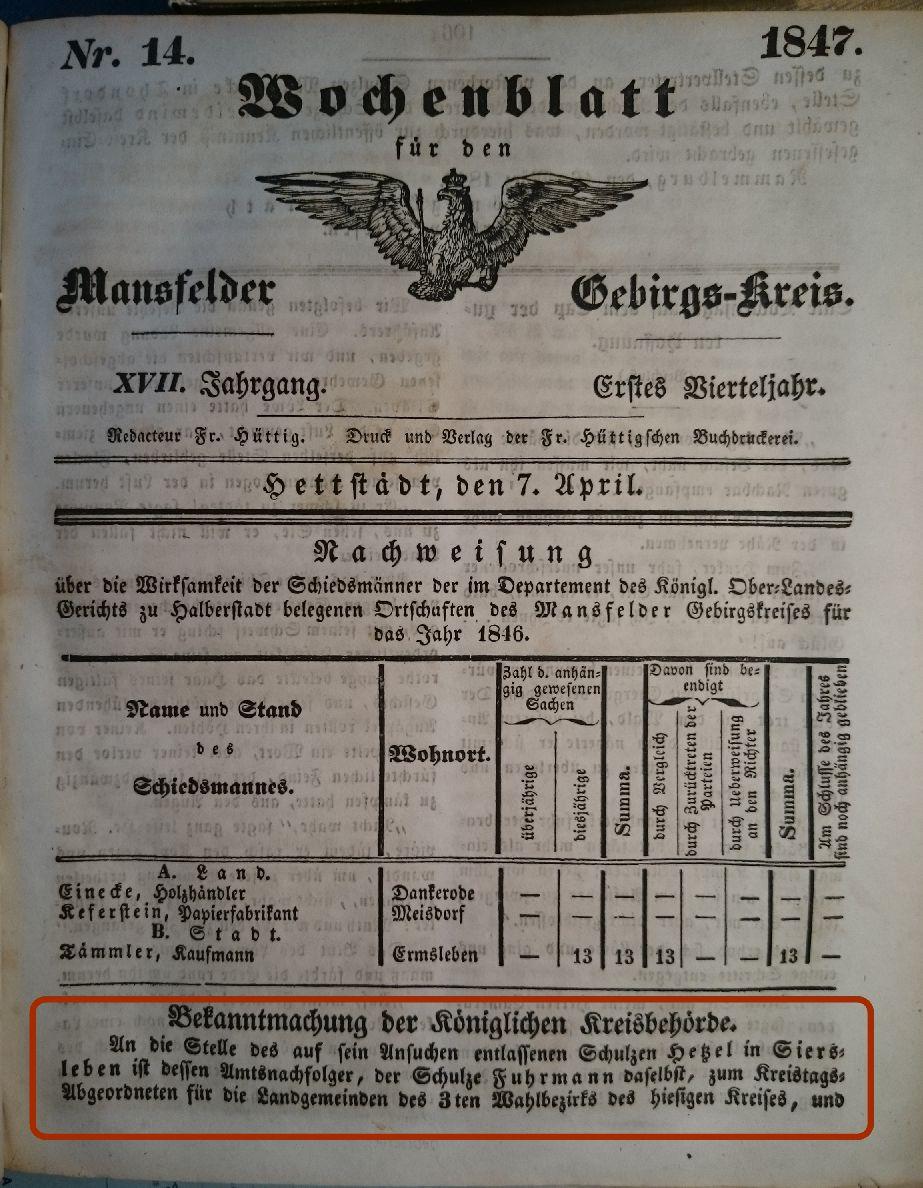 Mansfelder Wochenblatt 7.April 1847