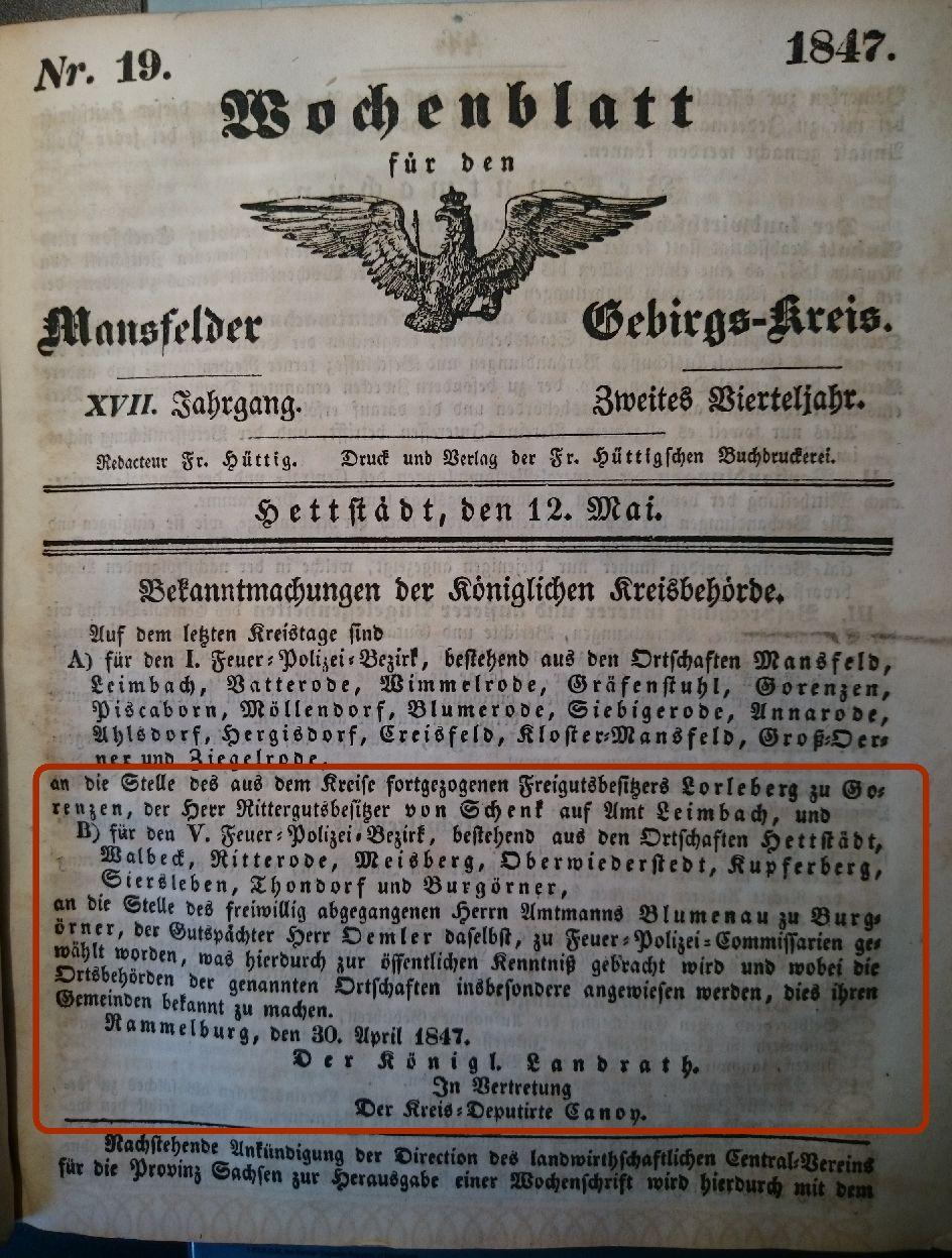 Mansfelder Wochenblatt 1847 Feuerpolizei bezirk