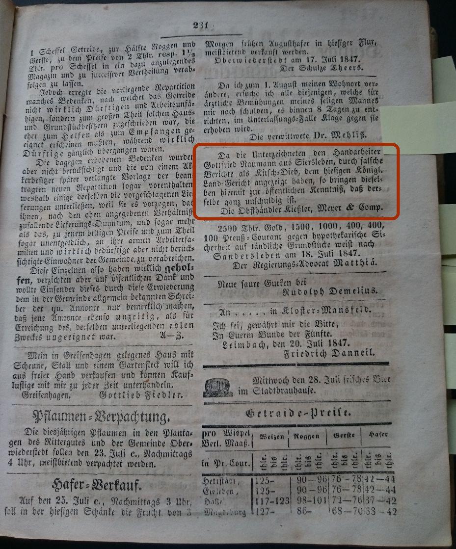Mansfelder Wochenblatt 1847 Inserat kirschdieb