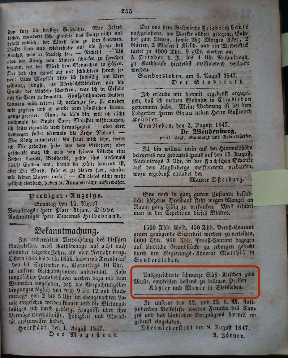 Mansfelder Wochenblatt 1847 Inserat küssler meyer