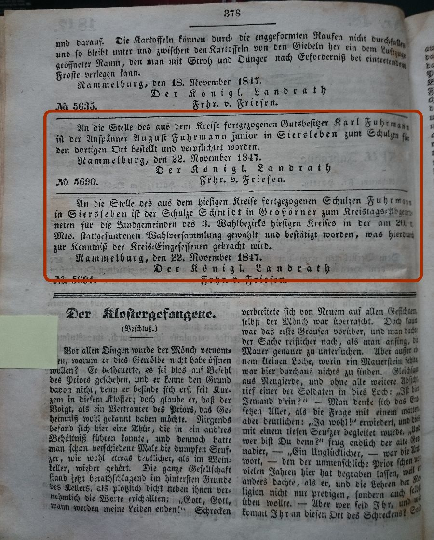Mansfelder Wochenblatt 1847 Inserat Schulze Furmann