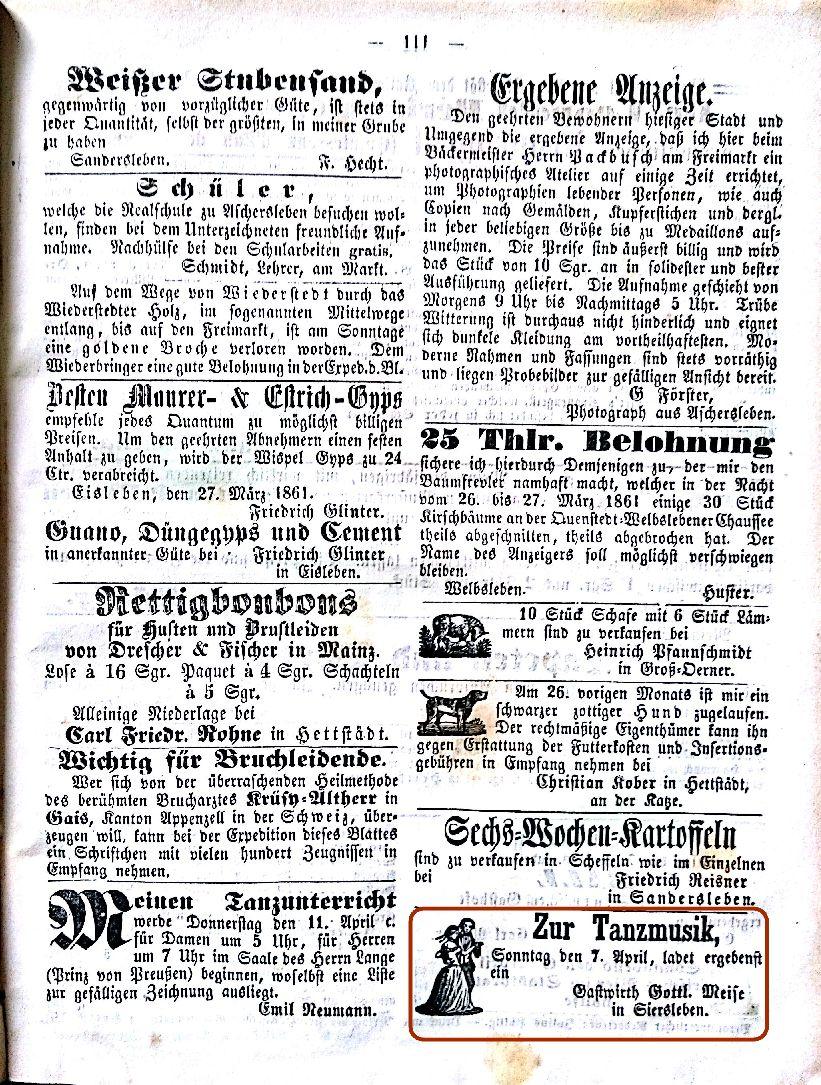 Mansfelder Wochenblatt 1861 Inserat meise tanz