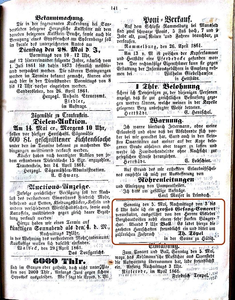 Mansfelder Wochenblatt 1861 Inserat tanz gasthof sonne hübitz