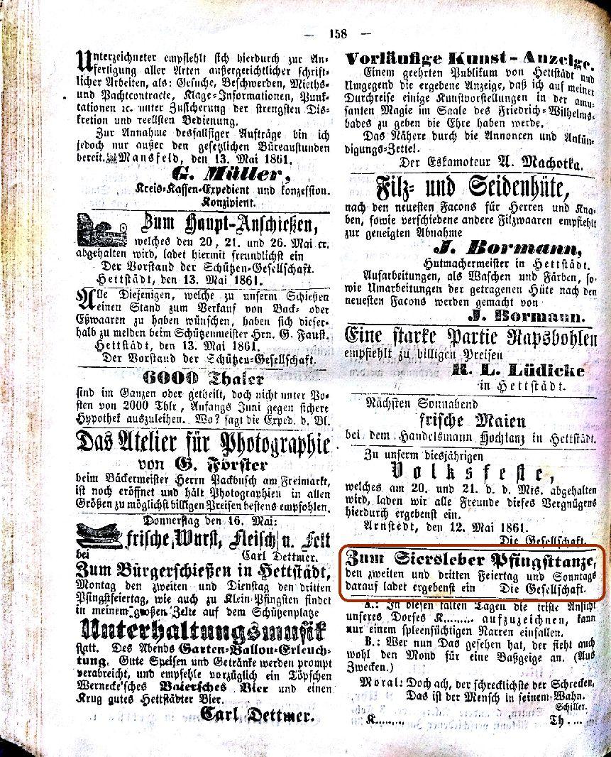 Mansfelder Wochenblatt 1861 Inserat pfingsttanz