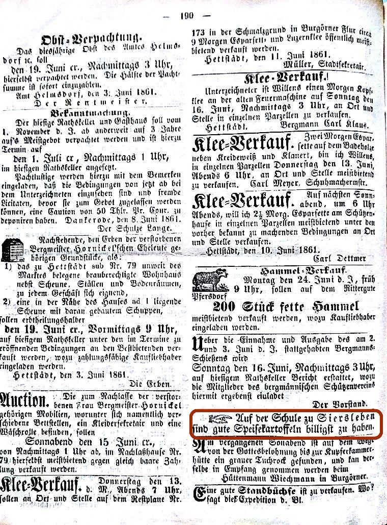 Mansfelder Wochenblatt 1847 Inserat Kartoffeln