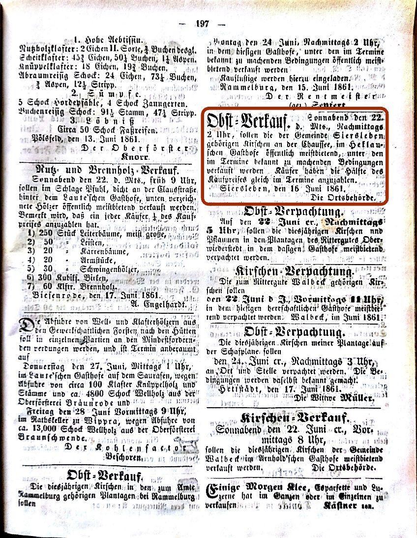 Mansfelder Wochenblatt 1861 Inserat Obstverkauf bei Heklau