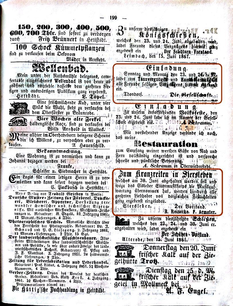 Mansfelder Wochenblatt 1861 Inserat tanz und kranzreiten