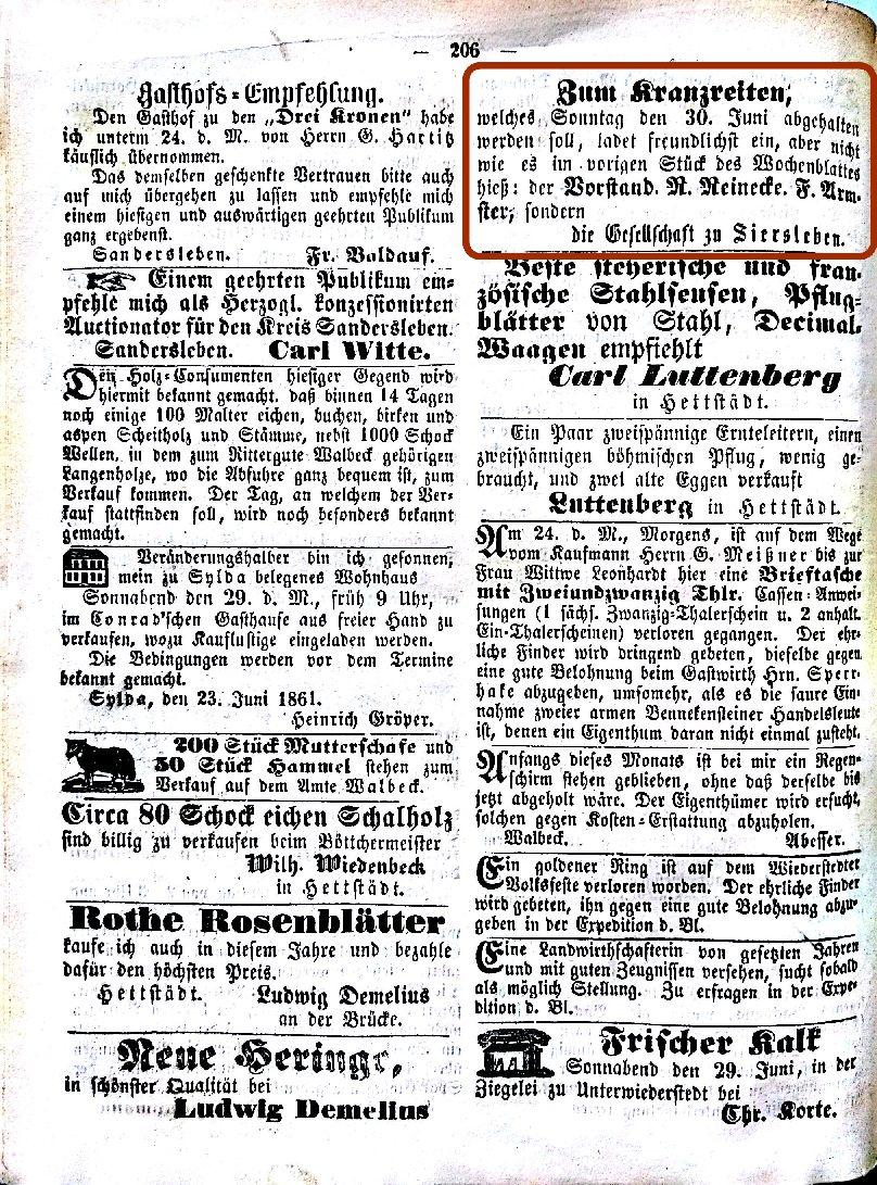 Mansfelder Wochenblatt 1861 Inserat kranzreiten