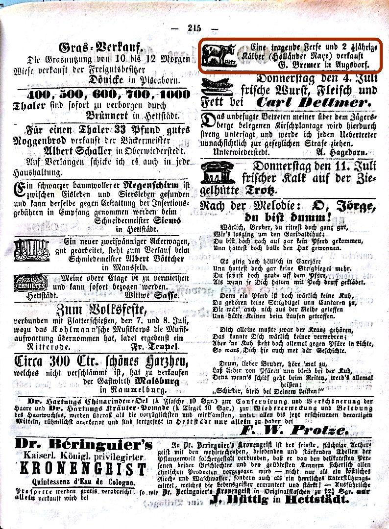 Mansfelder Wochenblatt 1861 Inserat Kuhverkauf