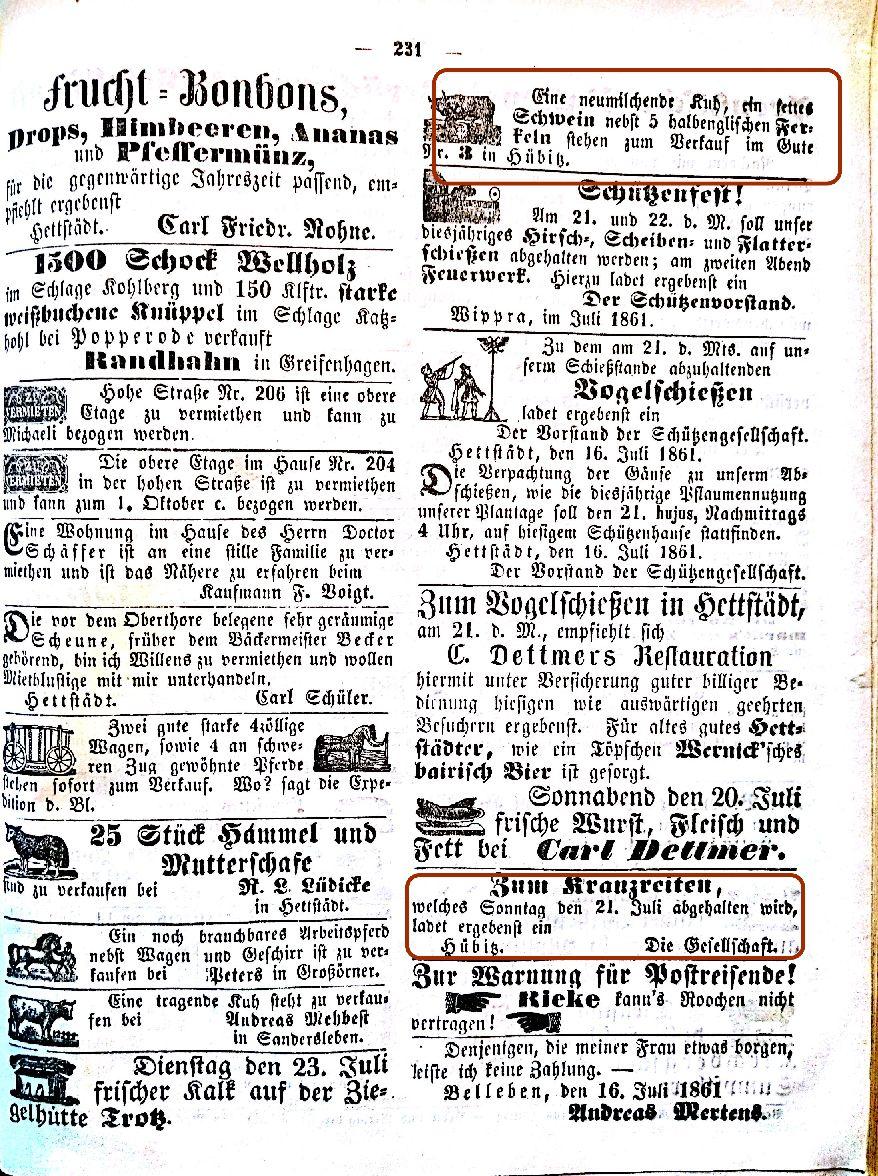 Mansfelder Wochenblatt 1861 Inserat Kuh- und Ferkel verkaufverkauf