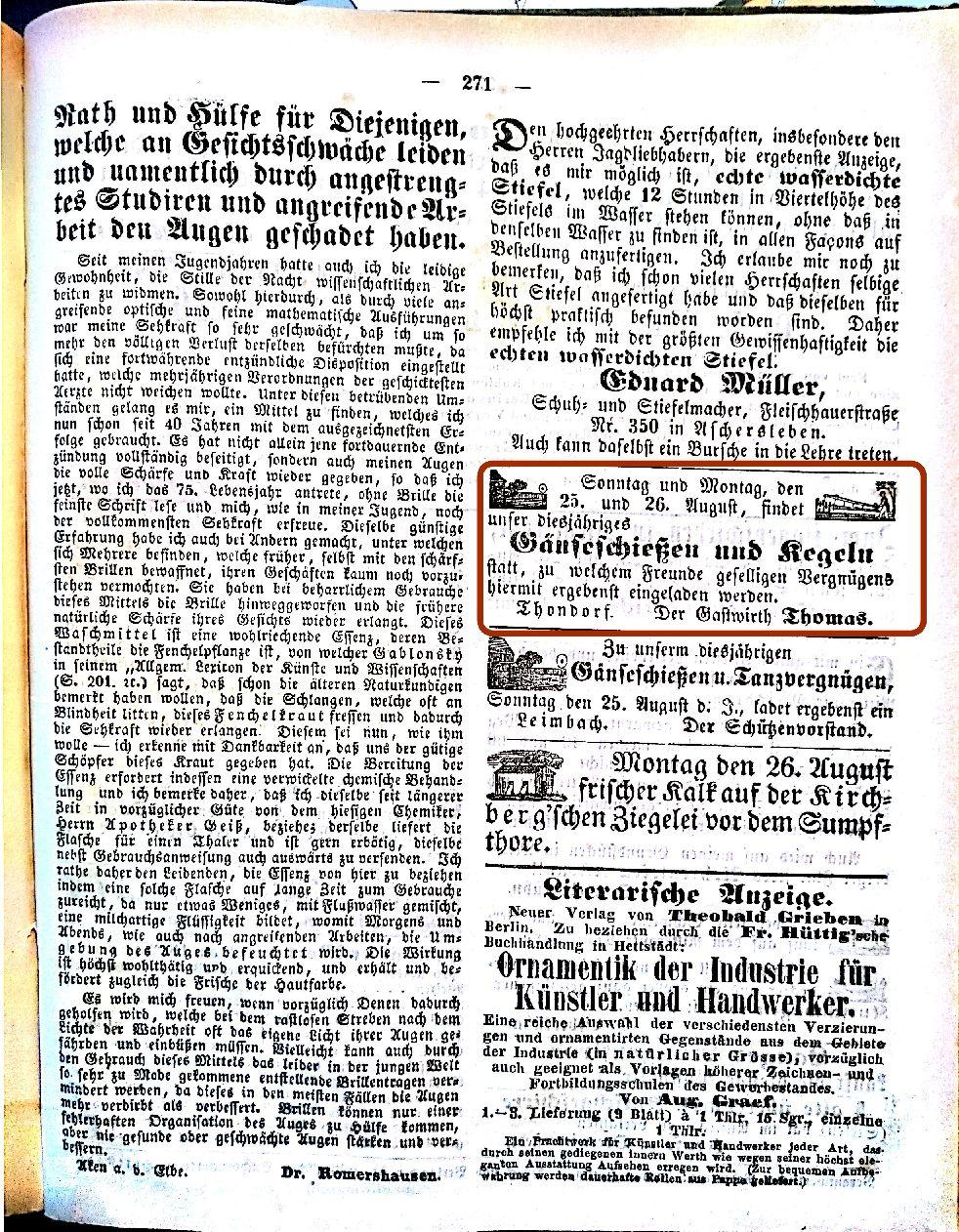 Mansfelder Wochenblatt 1861 Inserat gansschießen