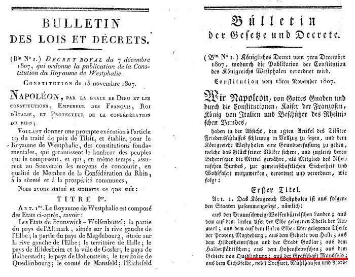 Proklamation des Königreiches Westphalen 1807