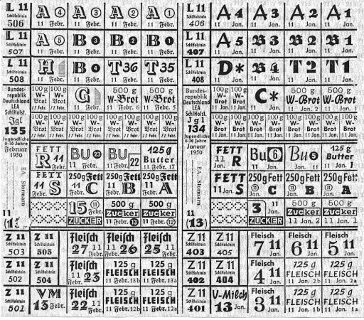 ddr-lebensmittelkarte 1950